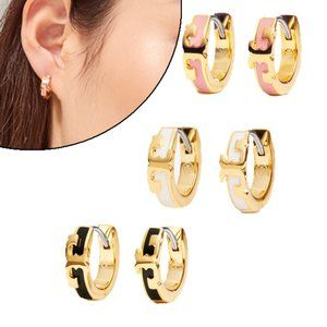 Tory Burch Enamel Simple Round Earrings